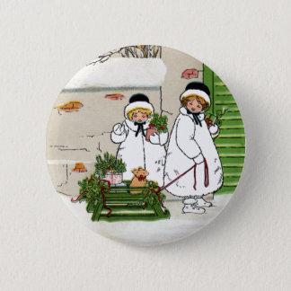 Three Girls and Pig in Sled Vintage Christmas Pinback Button