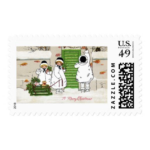 Three Girls and Pig in Sled Vintage Christmas Stamp