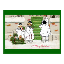 Three Girls and Pig in Sled Vintage Christmas Postcard