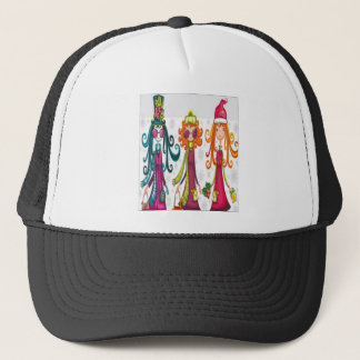 Three girls design trucker hat