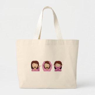 Three Girls Emoji Large Tote Bag