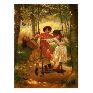 Three Girls on a Swing Postcard