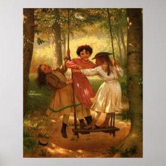 Three Girls on a Swing Print