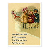 Three girls on snow, Christmas greeting with poem Postcard