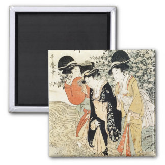 Three girls paddling in a river, from the 'Fashion 2 Inch Square Magnet
