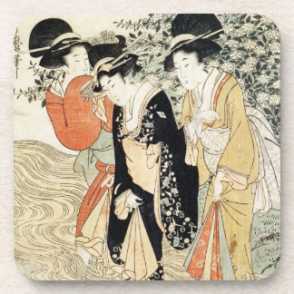 Three girls paddling in a river, from the 'Fashion Beverage Coaster
