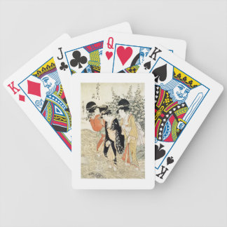 Three girls paddling in a river, from the 'Fashion Bicycle Playing Cards