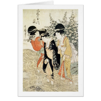Three girls paddling in a river, from the 'Fashion Card