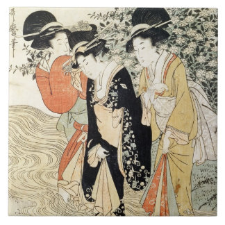 Three girls paddling in a river, from the 'Fashion Ceramic Tile
