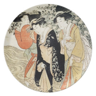 Three girls paddling in a river, from the 'Fashion Dinner Plate