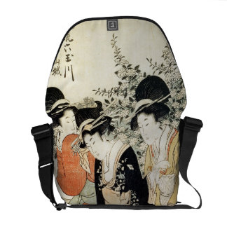 Three girls paddling in a river, from the 'Fashion Messenger Bag