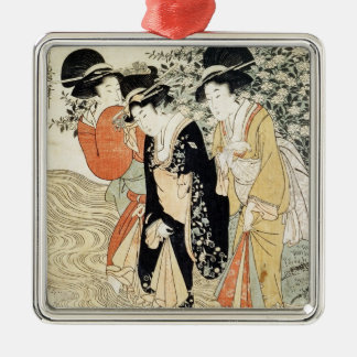 Three girls paddling in a river, from the 'Fashion Metal Ornament