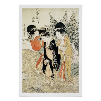 Three girls paddling in a river, from the 'Fashion Poster