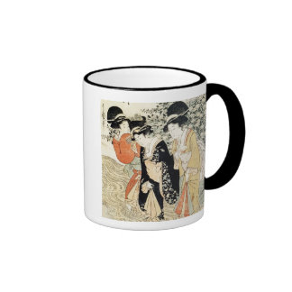 Three girls paddling in a river, from the 'Fashion Ringer Mug