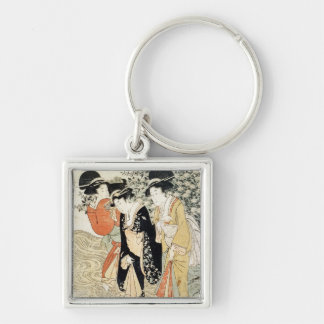 Three girls paddling in a river, from the 'Fashion Silver-Colored Square Keychain