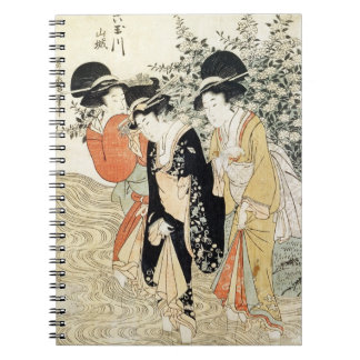 Three girls paddling in a river, from the 'Fashion Spiral Notebook