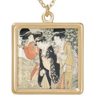 Three girls paddling in a river, from the 'Fashion Square Pendant Necklace
