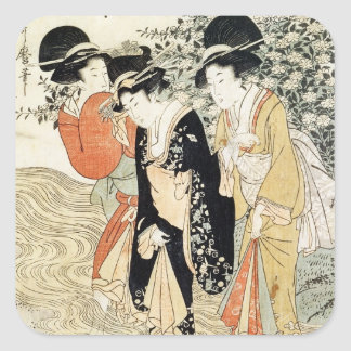 Three girls paddling in a river, from the 'Fashion Square Sticker