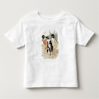 Three girls paddling in a river, from the 'Fashion Tee Shirt