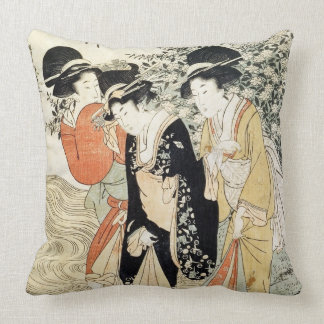 Three girls paddling in a river, from the 'Fashion Throw Pillow