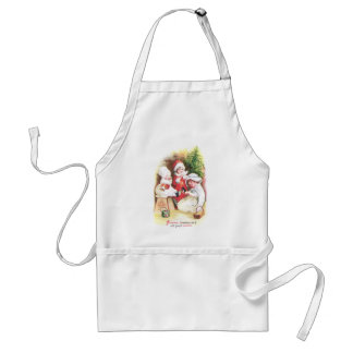 Three Girls Try on New Clothes Vintage Christmas Adult Apron