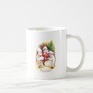 Three Girls Try on New Clothes Vintage Christmas Mug