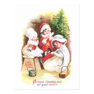 Three Girls Try on New Clothes Vintage Christmas Postcard