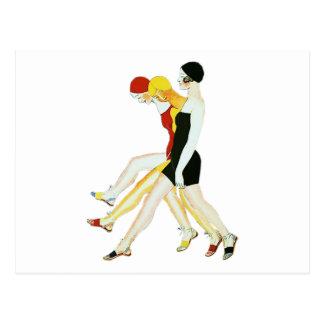 Three Girls Walking - 1920s Illustration Postcard