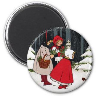 Three Girls with Mistletoe Vintage Christmas 2 Inch Round Magnet