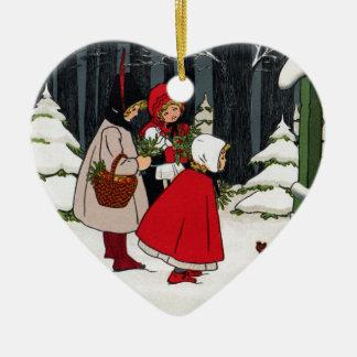 Three Girls with Mistletoe Vintage Christmas Ceramic Ornament
