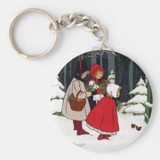 Three Girls with Mistletoe Vintage Christmas Keychain