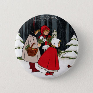 Three Girls with Mistletoe Vintage Christmas Pinback Button