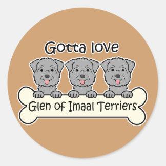 Three Glen of Imaal Terriers Round Stickers