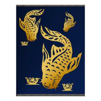 Three Gold Catfish  Poster