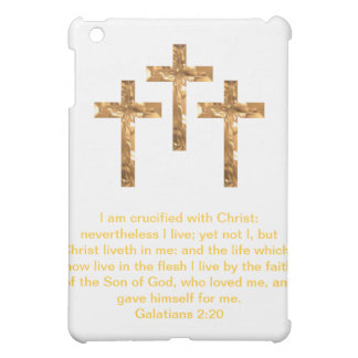 Three Golden Crosses with Scripture iPad Mini Case