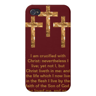 Three Golden Crosses with Scripture Phone Case Covers For iPhone 4