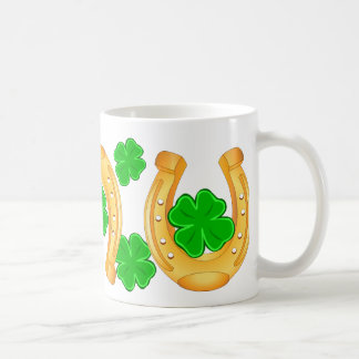 Three Golden Horseshoes Seven Lucky Green Clover Classic White Coffee Mug