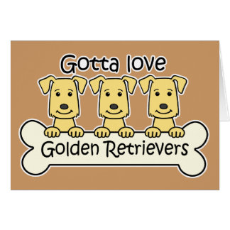 Three Golden Retrievers Card