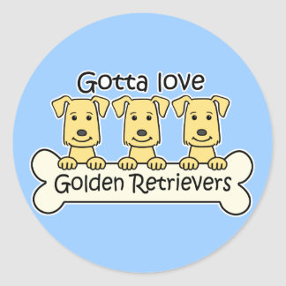 Three Golden Retrievers Classic Round Sticker