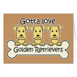 Three Golden Retrievers Greeting Card