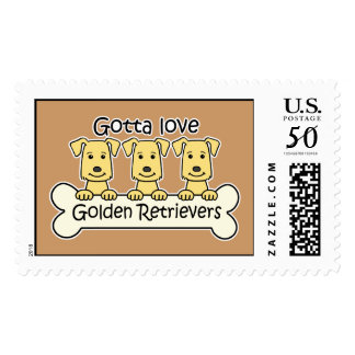 Three Golden Retrievers Postage