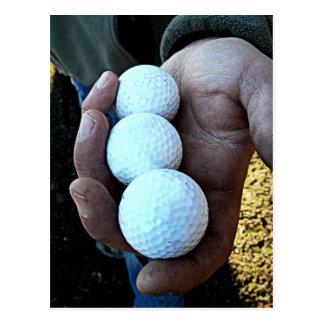 Three Golf Balls in Rough, Dirty Hands Postcard