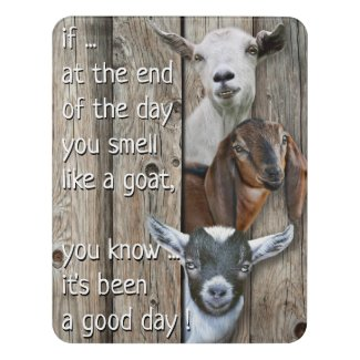 Three Good Day Goats Poem Door Sign