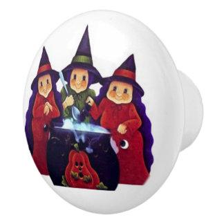 Three Good Witches Ceramic Knob