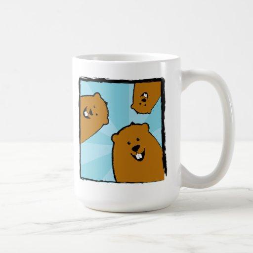Three Goofy Groundhogs with Smiles Mug
