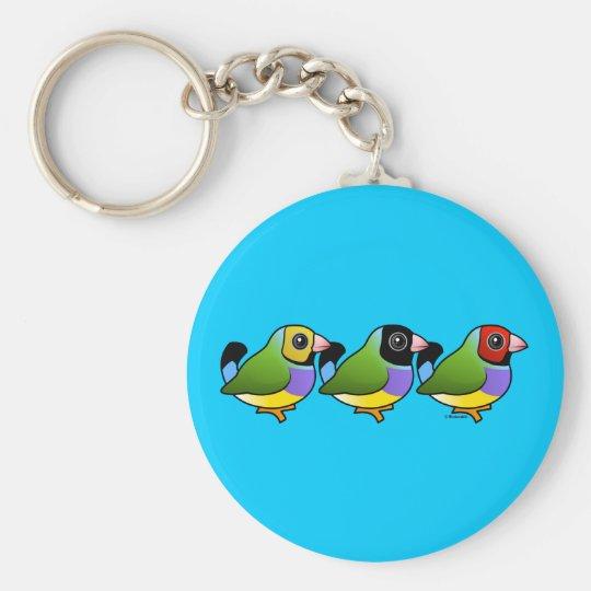 Three Gouldian Finches Keychain