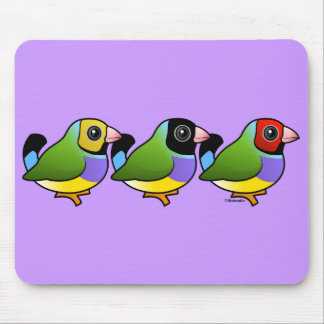 Three Gouldian Finches Mouse Pads