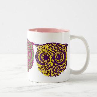 three graphic owls Two-Tone coffee mug
