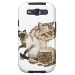 Three Gray and Golden Brown Pet Cats Sketched. Galaxy S3 Case