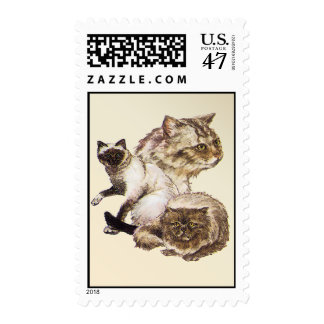 Three Gray and Golden Brown Pet Cats Sketched. Postage Stamp